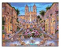 工芸品グラフDIY油絵、ナンバーキットによる大人の絵の具、アクリル画花の噴水美しい城40 * 50cm