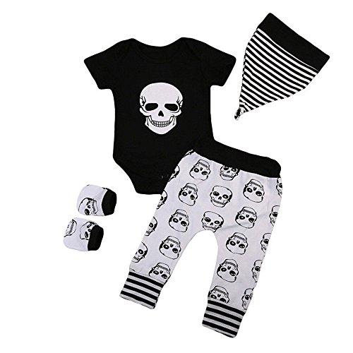 MAYOGO Conjunto Ropa Bebe Recien Nacido Niño 0 a 3 Meses Disfraz Halloween Niño Calavera Camiseta Manga Corta y Pantalones y Sombrero y Guante Bebe Pijama Traje de Bebé niño 0-24 Meses