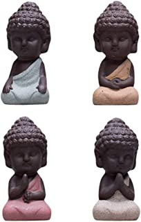 Snobbery Cute Small Buddha Statue Monk Figurine Outdoor Home Decor - 4pcs Large