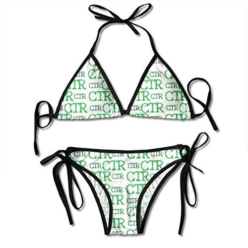 Ensemble de Bikini à Motif Vert Ctr pour Femmes Maillot de Bain Deux pièces réglable Maillot de Bain Sexy