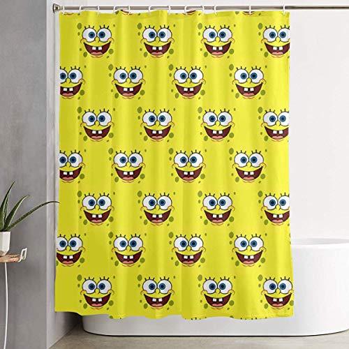 pingshang Lustiger Stoff Duschvorhang Spongebob Gesicht wasserdicht Badezimmer Dekor mit Haken 60 x 72 Zoll