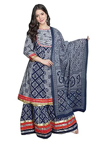 Hermoso Festival Algodón Impreso Musulmán Sharara Kurti Dupatta Mujer India Kurta Traje Set 487K, Azul / Patchwork, XL