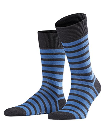 FALKE Herren Socken Even Stripe, 1 Paar, Grau (Anthracite Melange 3080), 39-42