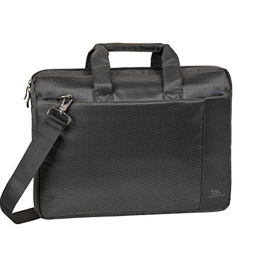 """RIVACASE Laptoptasche bis 15.6"""" – Kompakte Tasche mit zusätzlich gepolsterten Notebookfach & viel Stauraum – Schwarz"""