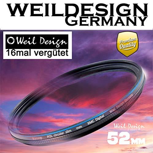 Polfilter POL 52mm Circular Slim XMC Digital Weil Design Germany SYOOP * Kräftigere Farben * Frontgewinde * 16 Fach XMC vergütet * inkl. Filterbox * zirkulare (POL Filter 52)
