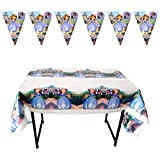 Sofia The First Birthday Party Banner and 2 Table Clothes for Princess Sofia Theme Party Decoration Garland