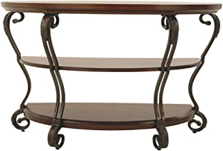 Signature Design by Ashley - Nestor Traditional Semi-Circle Sofa Table w/ Two Shelves, Medium Brown