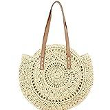 JSJJAKM Bolsas de playa tejidas hechas a mano, para verano, playa, redondas, para mujer, con mensajes, de ratán, para mujer, color beige
