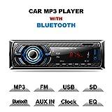 Hoidokly Autoradio Bluetooth 1 Din 4 x 60W Mains Libres Universelle Radio de Stéréo Voiture Récepteur MP3 de Lecteur FM/USB/SD/WMA/AUX + SWC Télécommande, 7 Couleurs d'Eclairage