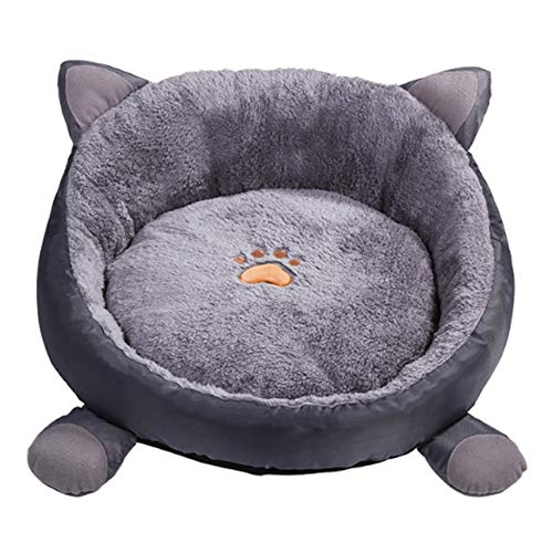 Zoochey Cat Ears Round cat and Dog Bed Comfortable Donut Plush Dog Bed Super Soft Washable cat and Dog Cushion Bed (brown-15in)