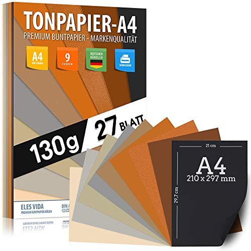 Ton-Papier 27 Blatt Druckerpapier A4 130g Natur, Gelb, Sonne, Sand, Braun, Ocker - PREMIUM - Unbedruckt für Postkarten, Briefe, Pappe, Präsentationen. 21x29 cm Bögen, Basteln, DIY Tonzeichenpapier