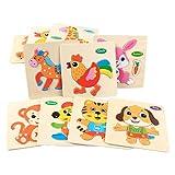 dailymall 10x Rompecabezas de Madera Rompecabezas de Madera Forma Animal Juguete Montessori