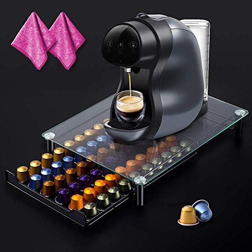 MASTERTOP Kaffee Ständer,Kaffee-Kapselhalter für 60 Kaffeepads mit 2 Reinigungstücher,Aufbewahrungsbox für Kapseln aus gehärtetem Glas