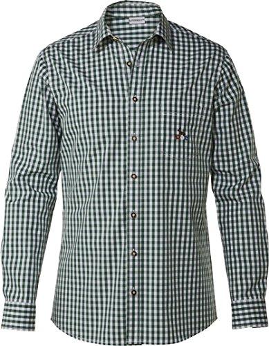 LIVERGY® Herren Trachtenhemd (dunkelgrün/weiß - kariert, Gr. XL - 43/44)