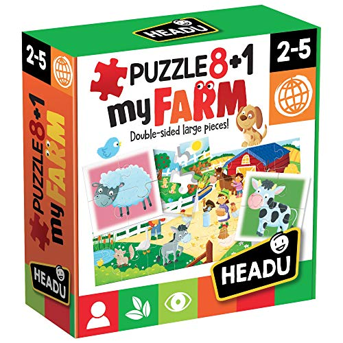 Headu- Farm Puzzle 8+1, Multicolore, IT20867