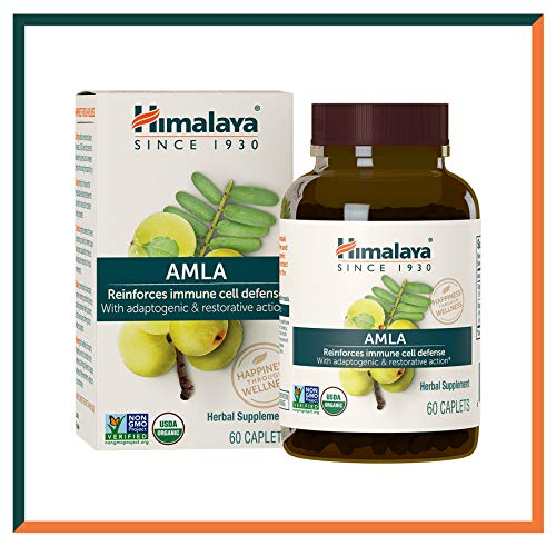 Himalaya Organic Amla, Natural Immune Support and Anti-Oxidant, 60 Caplets, 600 mg, 1 Month Supply (1PACK)