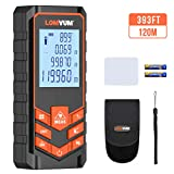 LOMVUM Laser Measure 393Ft Mute Digital Laser Distance Meter with Backlit LCD and Pythagorean Mode, Measure Distance, Area and Volume - Carry Pouch and Battery Included