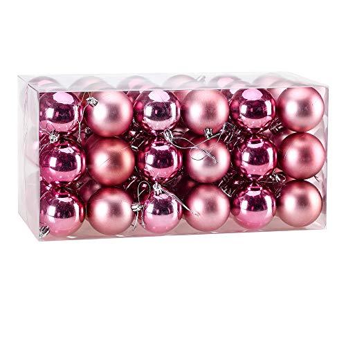 Deuba Set de 54 Bolas Ø 6cm de Navidad Rosado decoración de árbol para Fiestas Adornos opacos y Brillantes con...