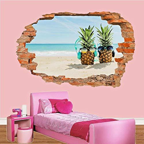 Pegatinas de pared-3D-Tropical Beach Party Music Pegatinas de pared Art Effect Poster Decal Mural-50x70cm