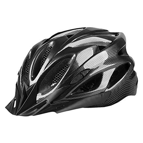 Casco de Bicicleta para Adulto Casco Ciclismo BMX Protector Ligero con Correa Ajustable y Visera Desmontable para Montar Protección de Seguridad Unisex para Carretera Montaña (Negro, 52-61cm)