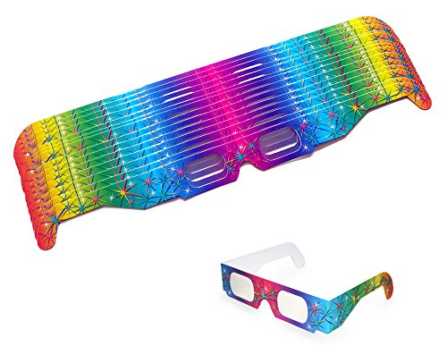 15 Stück Partybrille, Silvesterbrille, Feuerwerksbrille - Regenbogen: Multispektral Brille, Spektralbrille -
