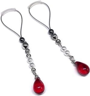 BoDivas Nipple Jewelry Noose Rings Crystal Drop Red Hematite Adjuster Non Piercing Nipplerings