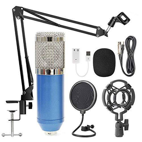 Streaming USB Podcast Micrófono para PC, kit de micrófono de condensador cardioide de estudio profesional con tarjeta de sonido Brazo de pluma Montaje de choque Filtro pop, para Skype Youtuber K