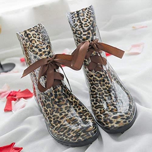 Regen Welliec Laarzen Voor Vrouwen, Creatieve Mode Zachte Waterdichte Antislip Luipaard Boog Lace Regen Schoenen Voor Dame Outdoor Reizen Grassland Muziek Festival Kleding Wild