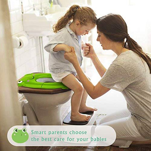 Fällbar krukor för barn, Besfair vikbar kruka träning toalettsits, resor toalettsitsskydd, halkfri silikon & glidfri klämmdesign, plus buggy väska, perfekt för spädbarn, småbarn gRÖN