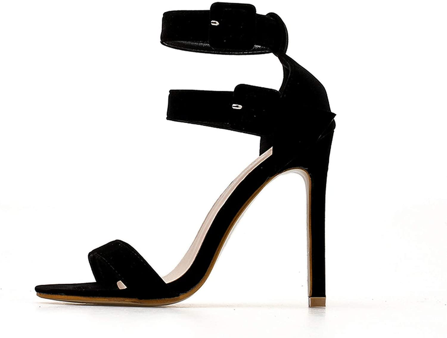 New Rome Style Belt Buckle Thin Heel High Heel Sandals for Women Sexy Lady Black shoes