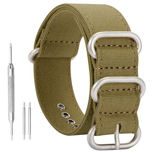 AUTULET 18mm esercito di fascia verde tela sostituzione cinturino sport per gli uomini