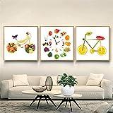 Lustige Lebensmittelbild Obst Fahrrad Poster Apfel Zitrone