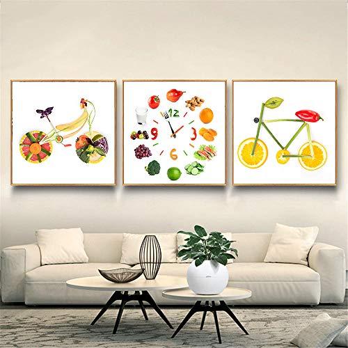 MFMing Impresión en lienzo Pintura de alimentos Cartel de frutas Bicicleta Manzana Limón Bicicleta linda Reloj de cocina Cuadros de pared para decoración de sala de estar-40x50cmx3p sin marco