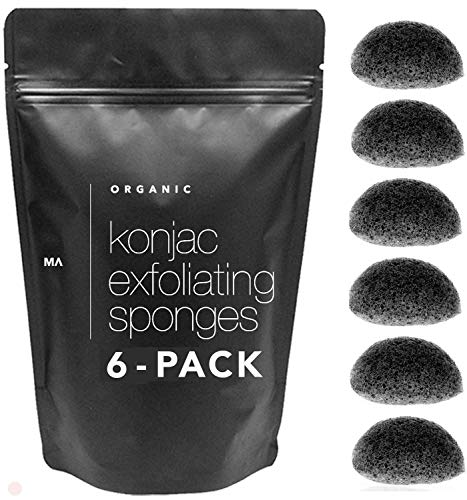 Minamul Konjac Exfoliating Organic Facial Sponge | Gentle daily face scrub/skincare | infused with best bamboo activated charcoal | Safe for Oily, Dry, Combination or Sensitive skin | 6 pack set