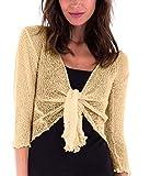 SHU-SHI Womens Sheer Shrug Tie Top Cardigan Lightweight Knit,Cream,One Size