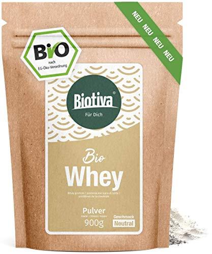 Whey Protein Pulver Bio 900g neutral - 80% Proteingehalt - ohne Zucker, Süßstoff - Muskelaufbau - Hergestellt, abgefüllt und kontrolliert in Deutschland (DE-ÖKO-005)