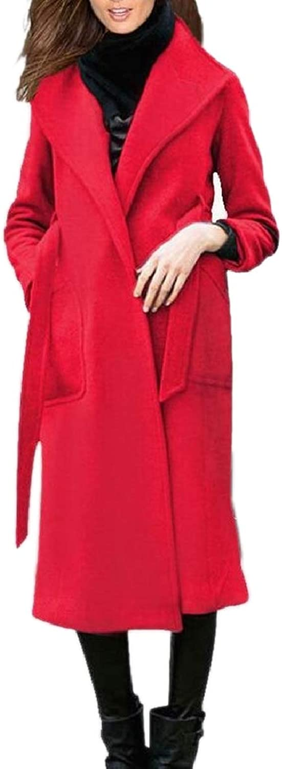 CBTLVSN Women's Winter Fall Wool Blend Warm Coat Lapel Overcoats
