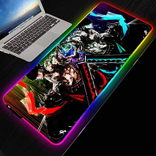 Mouse Pads One Piece Anime Roronoa Zoro Gaming RGB Mouse Pad Computer Backlit Large Mousepad for Desk Keyboard LED Mice Mat,35.4×15.7 Inches