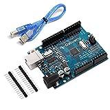 AZDelivery Microcontrolador ATmega328P Tarjeta Placa de desarrollo con Cable USB compatible con Arduino con E-Book incluido!