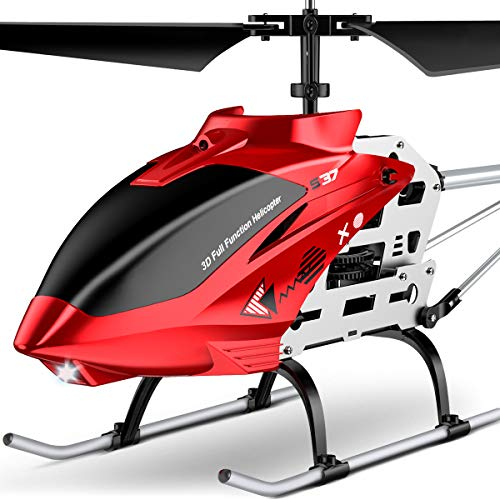 RC Helicopter, S37 Aircraft with Altitude Hold, 3.5 Channel, Sturdy Alloy Material, Gyro Stabilizer and High &Low Speed, Multi-Protection Drone for Kids and Beginner to Play Outdoor& Indoor-Red