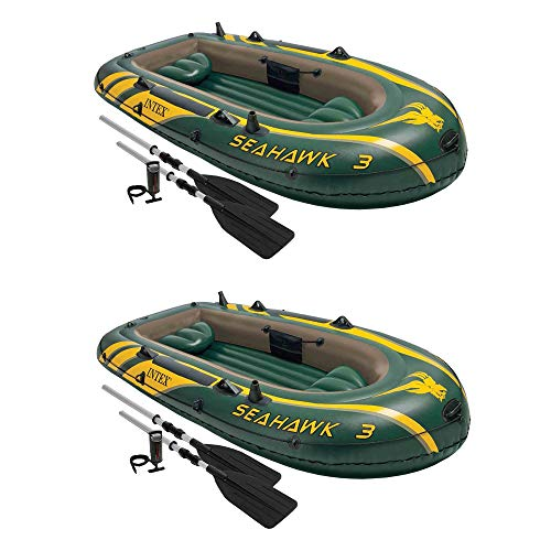 Intex Seahawk 3 Person Inflatable Boat Set with Aluminum Oars & Pump (2 Pack)