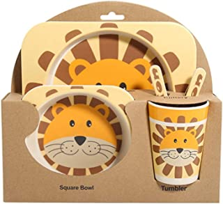 XIAOJIE 5pcs/Set Cartoon Tableware Set Bamboo Fiber Tableware for Baby Kids Supplies(Including Dinner Plate Bowl Cup Spoon Fork) Little Lion