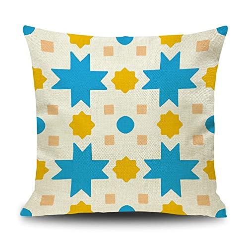 Banemi Funda Cojin Navidad 40X40cm, Estrella Lino Amarillo Coral Azul Funda de Almohada de Decoración de Oficina de Sofá