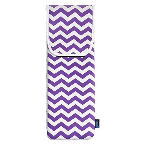 BCP Purple Chevron Water-resistant Neoprene Curling Iron Holder Flat Iron Curling Wand Travel Cover Case Bag Pouch 15 x 5 Inches (Purple)