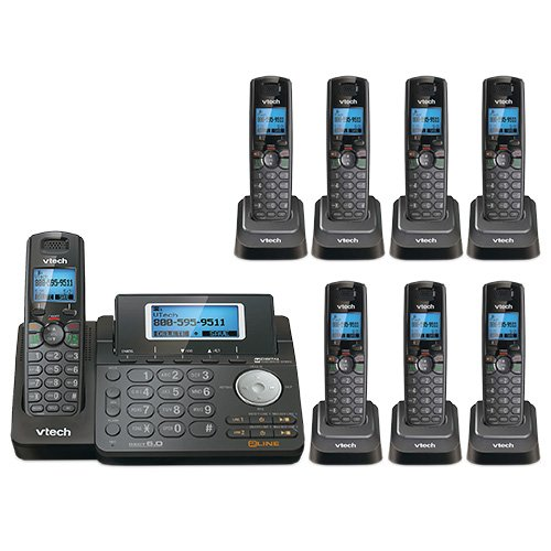 Price comparison product image VTech DS6151-11 DECT 6.0 2-Line Expandable Cordless Phone + (7) DS6101-11 Accessory Handset,  Black
