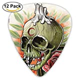 Scary Skull Skeleton With Rose Flower Candle And Moon Artisan Art Print Guitar Picks 12/Pack
