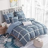 RUIKASI Bettwäsche 200x220 cm Blaues Gitter 100% Weiche und Angenehme Mikrofaser Schlafkomfort - 1...