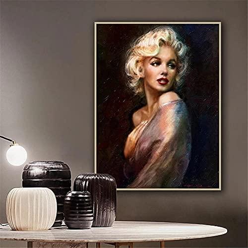 5D DIY Pintura de Diamante de Kits Marilyn Monroe Completo Crystal Rhinestone Adulto Sniño de Punto de Cruz Embroidery Art Decoración de la Pared del Hogar Diamond Painting Regalo Square Drill 30x40cm