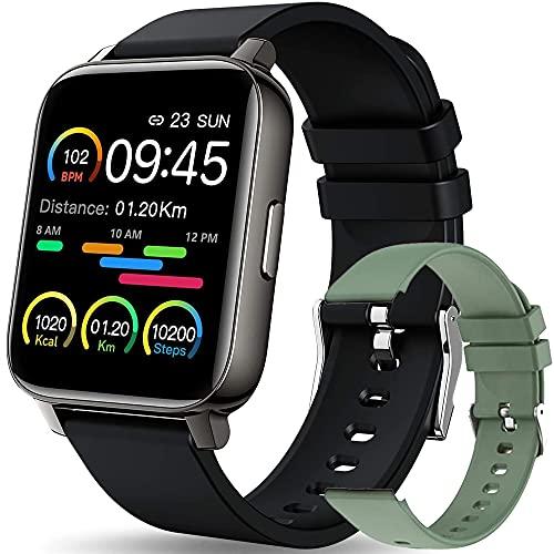 Reloj inteligente para hombres y mujeres, rastreador de actividad física de 1,69 pulgadas, pantalla táctil Smartwatch Monitor de ritmo cardíaco, IP67, monitor de sueño para Android e iOS (negro)