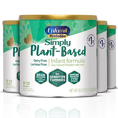 Plant based Baby Formula, 4 Powdered Cans, (20.9 Oz each), Enfamil ProSobee for Sensitive Tummies, Soy-based, Plant Sourced Protein, Lactose-free, Milk free (Packaging May Vary)